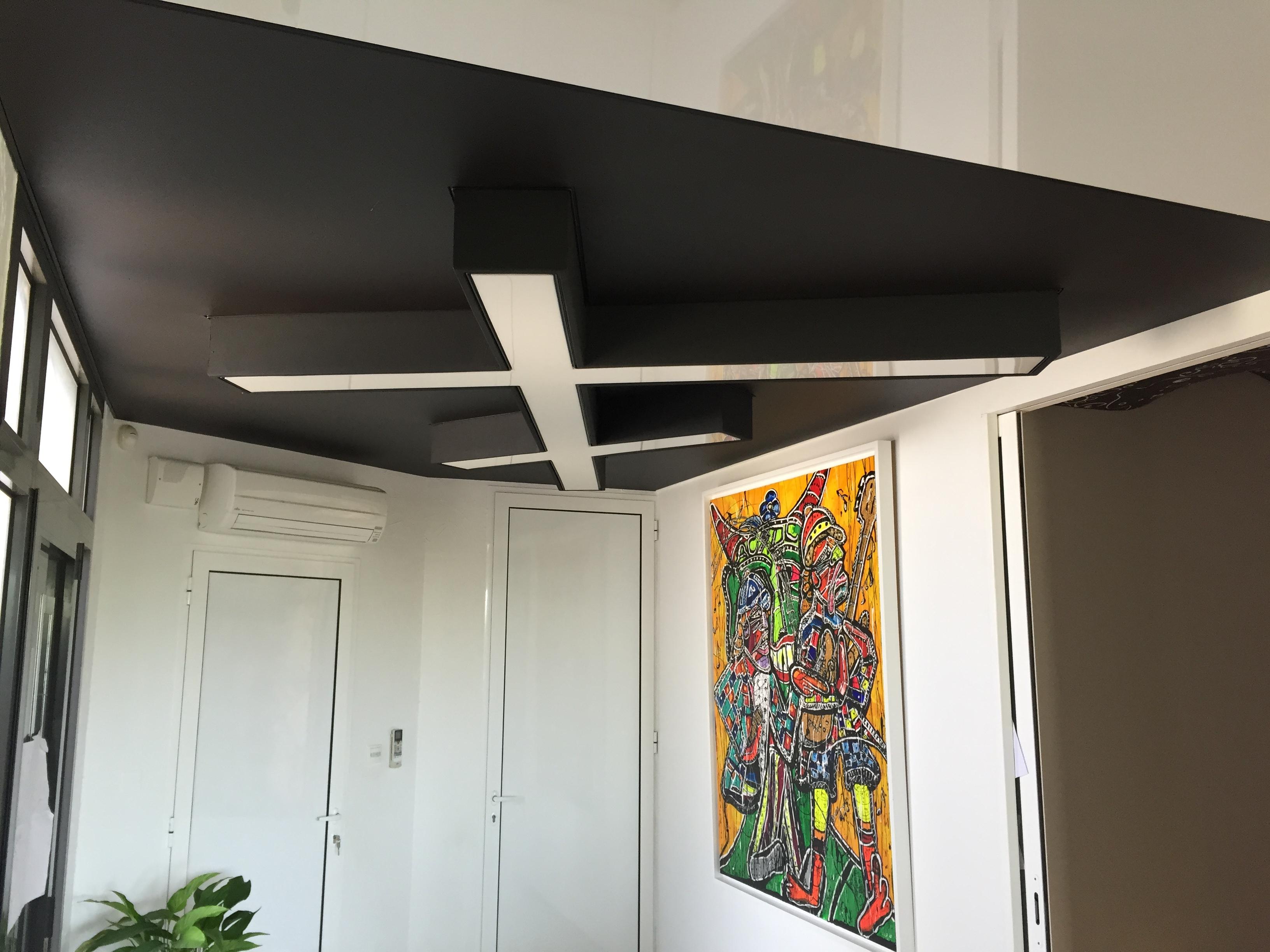un faux plafond tendu noir mat extenzo pose pour une entree a toulouse. Black Bedroom Furniture Sets. Home Design Ideas